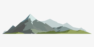 Mountain mature silhouette element outdoor icon snow ice tops and decorative isolated camping landscape travel climbing Stock Photo