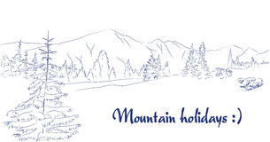 Mountain meadow graphic art pen landscape Stock Photos