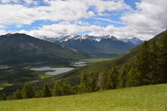 Mountain Meadow with Lake View. Beautiful mountain meadow with view of Vermilion Lakes in the distance in Banff, Alberta, Canada Stock Photography