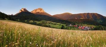 Mountain meadow panorama with village - Slovakia, Vratna Stock Photo