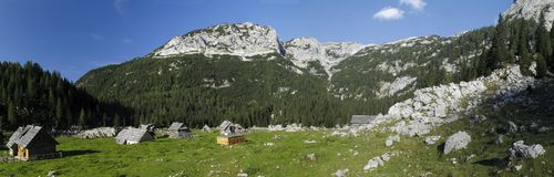 Mountain meadow Planina V Lazu in Julian Alps Stock Image