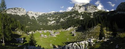Mountain meadow Planina V Lazu in Julian Alps Royalty Free Stock Photos