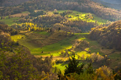 Mountain meadows at autumn illuminated by devine light, Radocelo mountain Stock Image