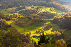 Mountain meadows at autumn illuminated by devine light, Radocelo mountain Stock Image