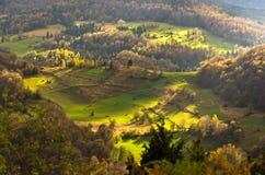 Mountain meadows at autumn illuminated by devine light, Radocelo mountain. Central Serbia Stock Image