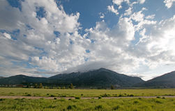 Mountain Meadows under cumulus morning clouds in the Central Rocky Mountains in Alpine Wyoming US Royalty Free Stock Photos