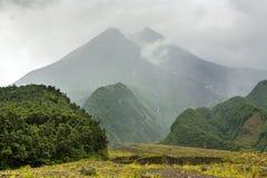 Mountain Merapi volcano at rainy day, Java Royalty Free Stock Photography