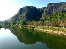 Mountain mirror. Mountains are reflect on river Royalty Free Stock Photo
