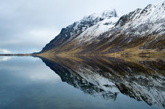 Mountain and mirror in Norway Stock Photo