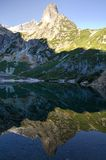 Mountain mirror reflection in lake Stock Photography