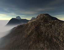 Mountain Mist. A 3D image scene of mountains and a morning mist set on a cloudy day Royalty Free Stock Photos