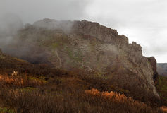 Mountain in mist. Landscape with mountain in mist royalty free stock photography