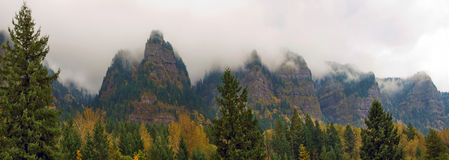 Mountain Mist Along Columbia River Gorge in Fall Stock Photo