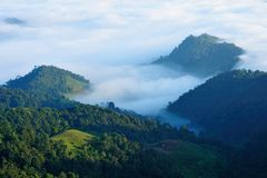 Mountain mist. In Chiang, Thailand Stock Photo