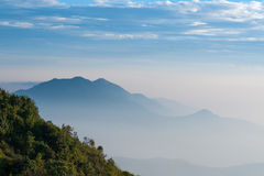 Mountain in Mist at Doi Inthanon. Chiang Mai, North of Thailand Royalty Free Stock Photos