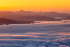 Mountain and mist in morning Royalty Free Stock Photos