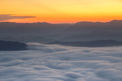 Mountain and mist in morning Royalty Free Stock Photo