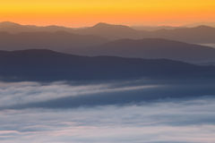 Mountain and mist in morning Stock Photo
