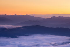 Mountain and mist in morning Royalty Free Stock Images