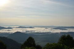 Mountain mist in the morning royalty free stock photography
