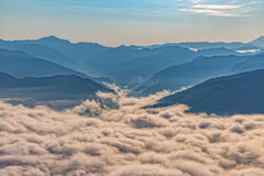 Mountain misty clouds aerial Royalty Free Stock Images