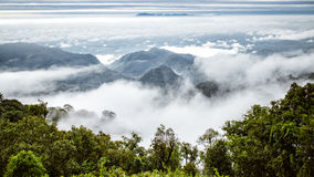 Mountain with misty fog in thailand Royalty Free Stock Images