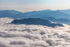 Mountain misty morning aerial Royalty Free Stock Photos