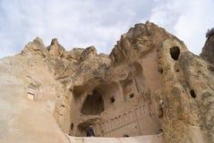 Mountain monastery. The entrance to the monastery in Goremi, Turkey Royalty Free Stock Photo