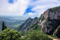 The Mountain of Montserrat Catalonia, Spain. Montserrat mountains and Benedictine monastery of Santa Maria de Montserrat. Stock Photos