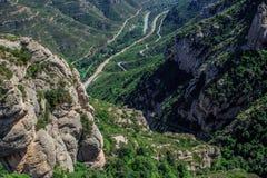 The Mountain of Montserrat Catalonia, Spain. Montserrat mountains and Benedictine monastery of Santa Maria de Montserrat. Royalty Free Stock Photos