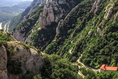 The Mountain of Montserrat Catalonia, Spain. Montserrat mountains and Benedictine monastery of Santa Maria de Montserrat. Stock Photo