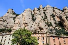 The Mountain of Montserrat Catalonia, Spain. Montserrat mountains and Benedictine monastery of Santa Maria de Montserrat. Stock Images