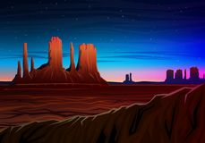 Mountain and Monument Valley, Night panoramic view, peaks, landscape early in daylight. travel or camping, climbing Royalty Free Stock Photo
