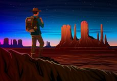Mountain and Monument Valley with tourist, Night panoramic view, landscape early in daylight. travel camping, climbing Royalty Free Stock Photos
