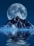 Mountain with Moon. This image shows a generated mountain with moon and sea royalty free illustration
