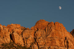 Mountain with the moon Stock Photos
