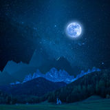 Mountain in Moon Light. Beautiful mountain in moon light, night landscape with stars in sky Royalty Free Stock Photography