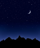Mountain Moon and Stars Royalty Free Stock Photos