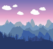 Mountain morning or evening landscape in a simple style flat. Si. Lhouettes of trees and forests Stock Photos