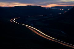 Mountain Motorway at Night Royalty Free Stock Photography