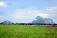 Mountain name Khao Oktalu or The Hole Mountain at Phatthalung Royalty Free Stock Photo