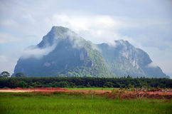 Mountain name Khao Oktalu or The Hole Mountain at Phatthalung Stock Images