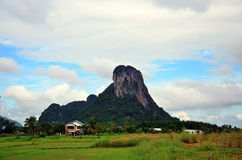 Mountain name Khao Oktalu or The Hole Mountain at Phatthalung Stock Photo