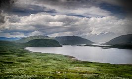 Mountain nature landscape in Morway summer. Europe nature - lakes mountains and sky for hiking Royalty Free Stock Image
