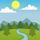 Mountain nature landscape vector illustration. Stock Photo