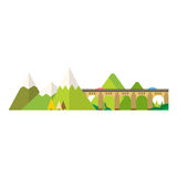 Mountain nature outdoor icon snow ice tops travel climbing or hiking geology vector illustration. Royalty Free Stock Photos