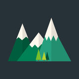 Mountain nature outdoor icon snow ice tops travel climbing or hiking geology vector illustration. Stock Image