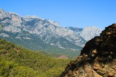 A mountain near Kemer, Turkey, vew from a hill, in October Royalty Free Stock Photos