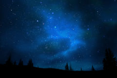 Mountain Night Sky Universe And Stars Landscape Royalty Free Stock Photos