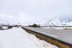 Mountain Norway road and scenic landscape of Lofoten islands. Stock Photo
